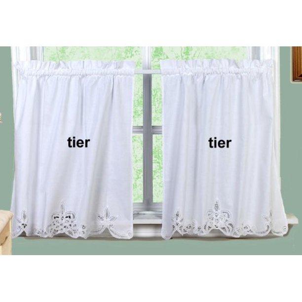 Battenburg Lace Kitchen Curtain 36 L Tiers White By Creative Linens Walmart Com
