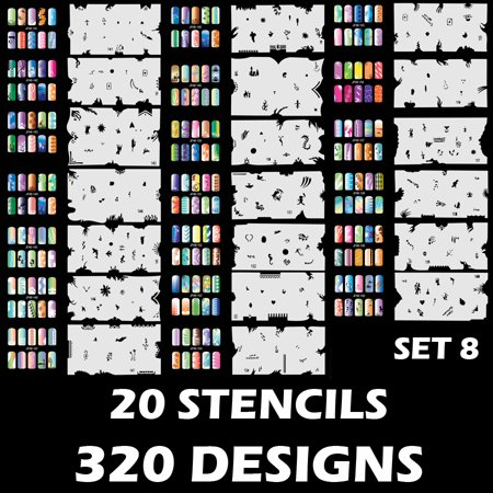 Custom Body Art Airbrush Nail Stencils - Design Series Set # 8 includes 20 Individual Nail Templates with 16 Designs ()