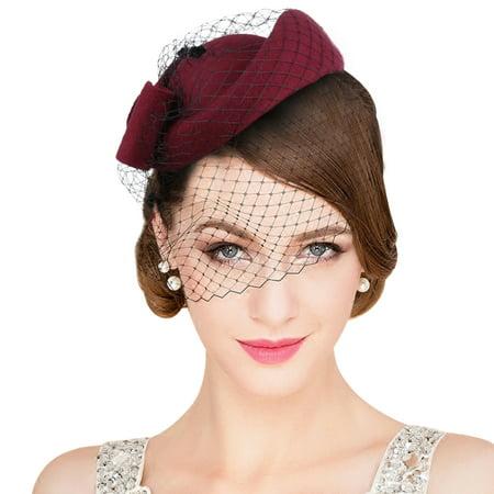 ALLCACA - Womens Pillbox Flower Derby Hat Vintage Bow Fascinator Hats for Cocktail  Ball Wedding Church Tea party - Walmart.com fb869f5e60df