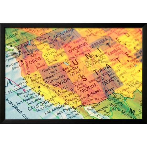 Map North West Usa Close Up Image Framed Print Wall Art By twixx