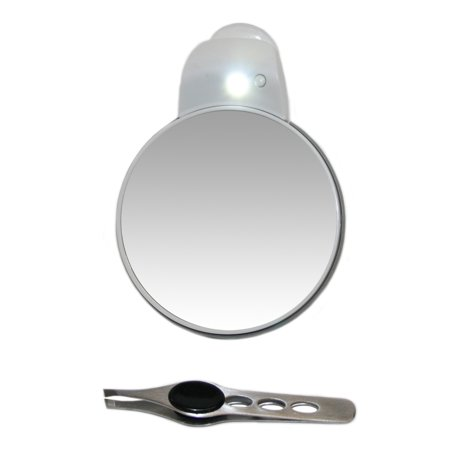 Led Light Cups (5x plus 1x Mirror with Suction Cup and Built in LED Light with Stainless Steel Eyebrow Tweezer 4
