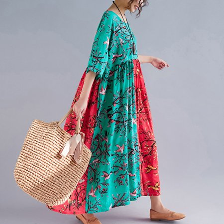 Women Dress Colorful Floral Birds Print Splicing High Waist Pleated Half Sleeve Swing Vacation Wear Multicolor - image 4 of 7