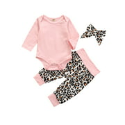 Autumn Winter Baby Girl's  Long Sleeve Jumpsuit and Leopard Long Pants with Headscarf