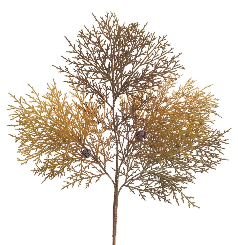 "Club Pack of 12 Decorative Two Tone Artificial Cedar Harvest Sprays with Tiny Pine Cones 30.5"""