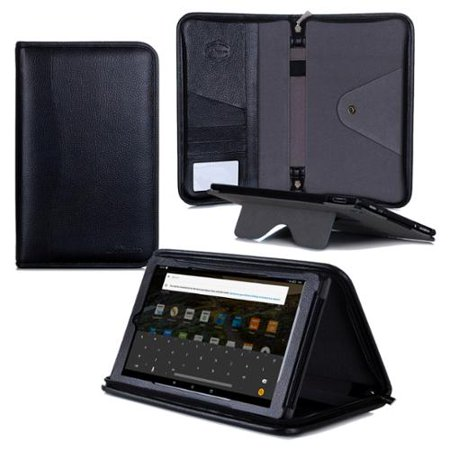 wholesale dealer ff4f5 6c43d Fire HD 10 Case, roocase Executive Portfolio Fire HD 10 (2015) Genuine  Leather Case Cover with Stylus for All-New Amazon Fire HD 10 (2015), Black