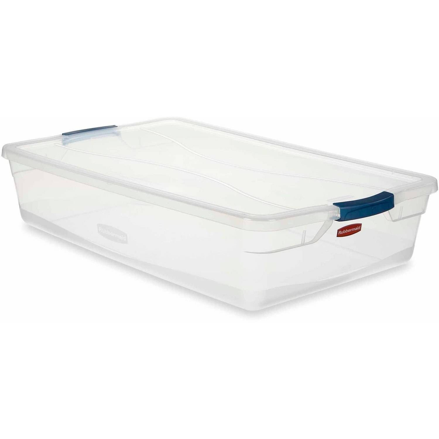 Rubbermaid Clever Store Clears Standard Latch Storage Container, 41-qt., Clear with Blue Latch