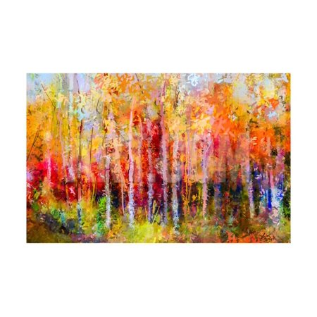 Oil Painting Landscape, Colorful Autumn Trees. Semi Abstract Paintings Image of Forest, Aspen Tree Print Wall Art By
