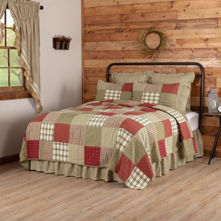 Brick Red Farmhouse Bedding Cottage Path Cotton Pre-Washed Patchwork Twin Quilt