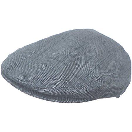 Summer Plaid Ivy Scally Driver Cap Polyester Flat Hat (Navy / Medium) (Summer Drivers Caps)