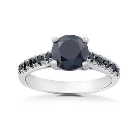 2 1/4 ct Black Diamond Solitaire Accent Engagement Ring 14k White Gold 2 Ct Diamond Solitaire Engagement Ring