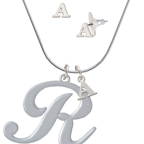 Large Gelato Script Initial - R - - A Initial Charm Necklace and Stud Earrings Jewelry Set