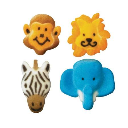 Elephant Sugar - Jungle - Elephant, Lion, Zebra, Monkey Edible Sugar Decorations - 8 Count - 43049 - National Cake Supply