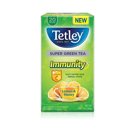 (Tetley, Super Green Tea Lemon Honey with Vitamin C, Tea Bags, 20 Count)