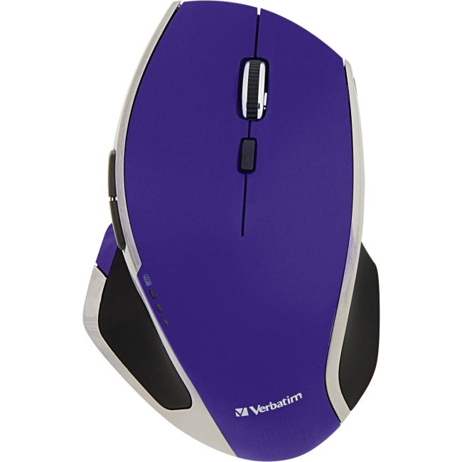 Verbatim Wireless Desktop 8-Button Deluxe LED Mouse, Purple