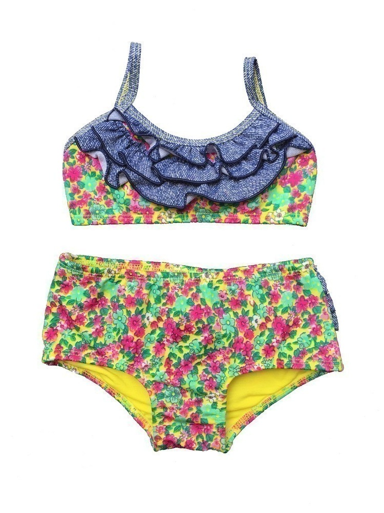 Baby Girls Green Pink Spring Floral Ruffle Detail 2 Pc Swimsuit