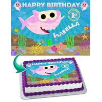 "Baby Shark Girl Cake Topper Personalized 1/4 Sheet (8""x10.5"")"