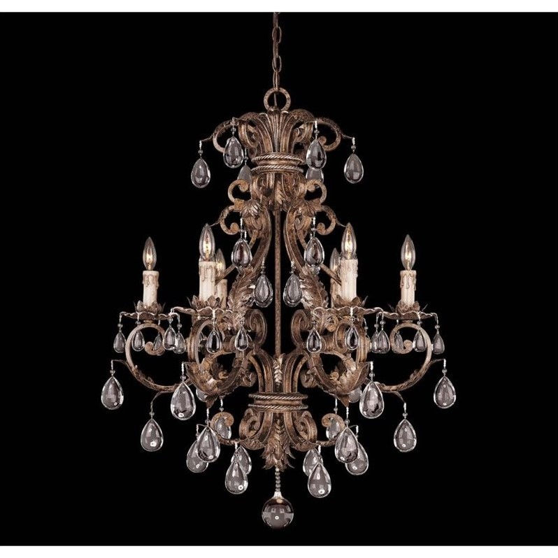 Savoy House Chastain 6 Light Chandelier in New Tortoise Shell with Silver