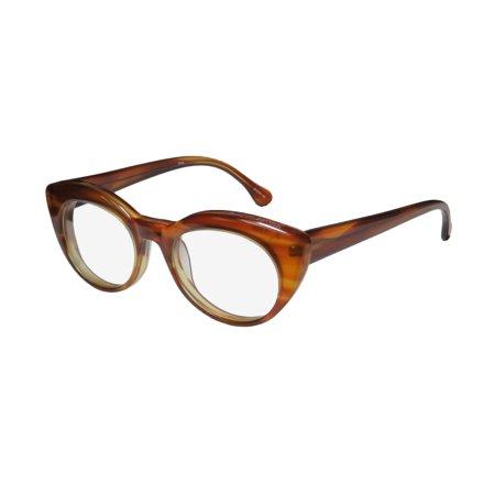 New Elizabeth And James Kinzie Womens/Ladies Designer Full-Rim Amber Brown Contemporary Sleek Frame Demo Lenses 50-19-145 Flexible Hinges (Contemporary Glasses Frames)