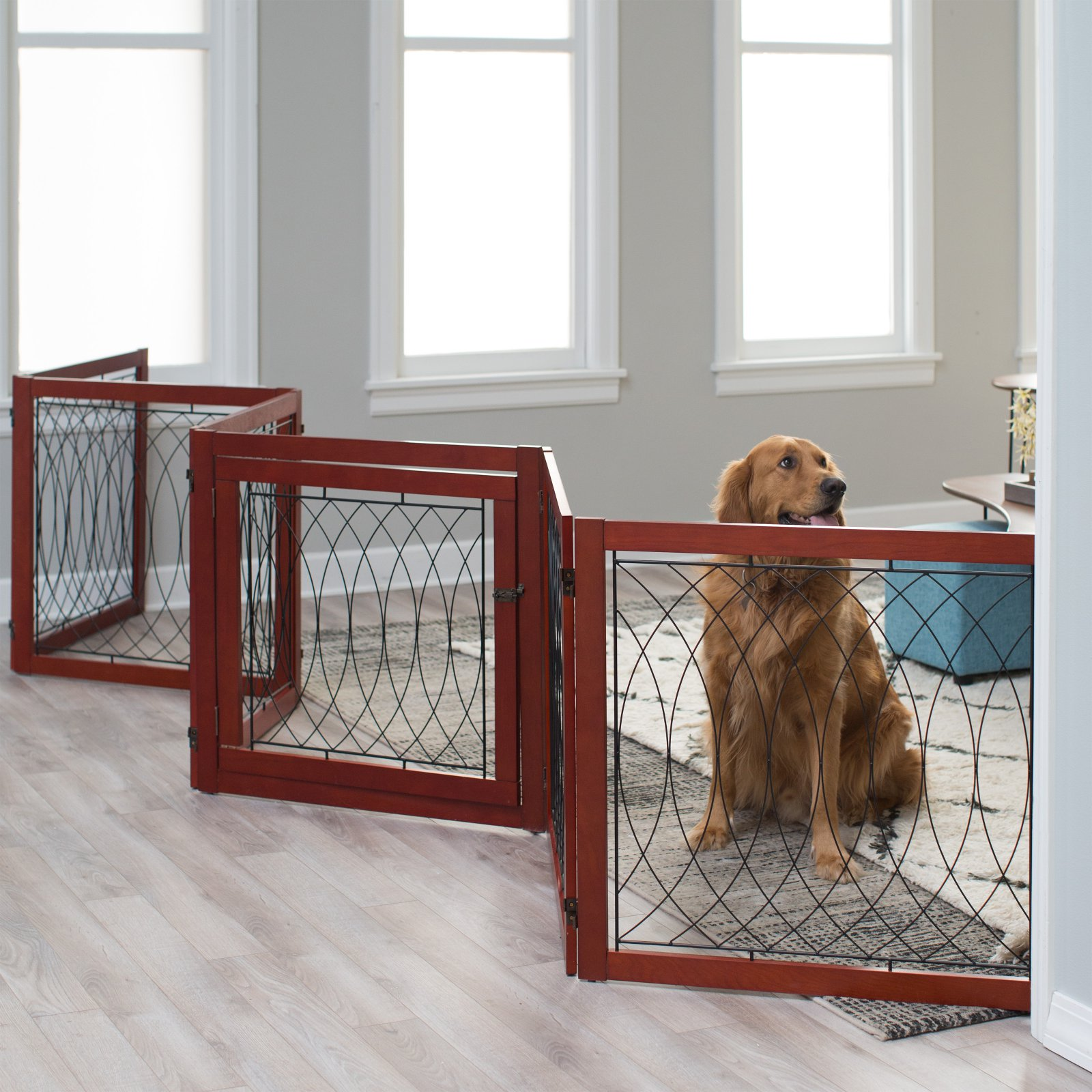 Boomer & George Ruby 6 Panel Configurable Freestanding Pet Gate / Playpen - Cherry Brown