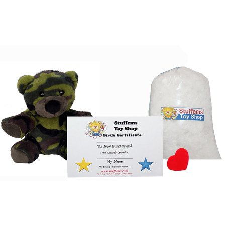 Make Your Own Stuffed Animal Mini 8 Inch Camo Bear Kit - No Sewing Required! - Make Your Own Bear