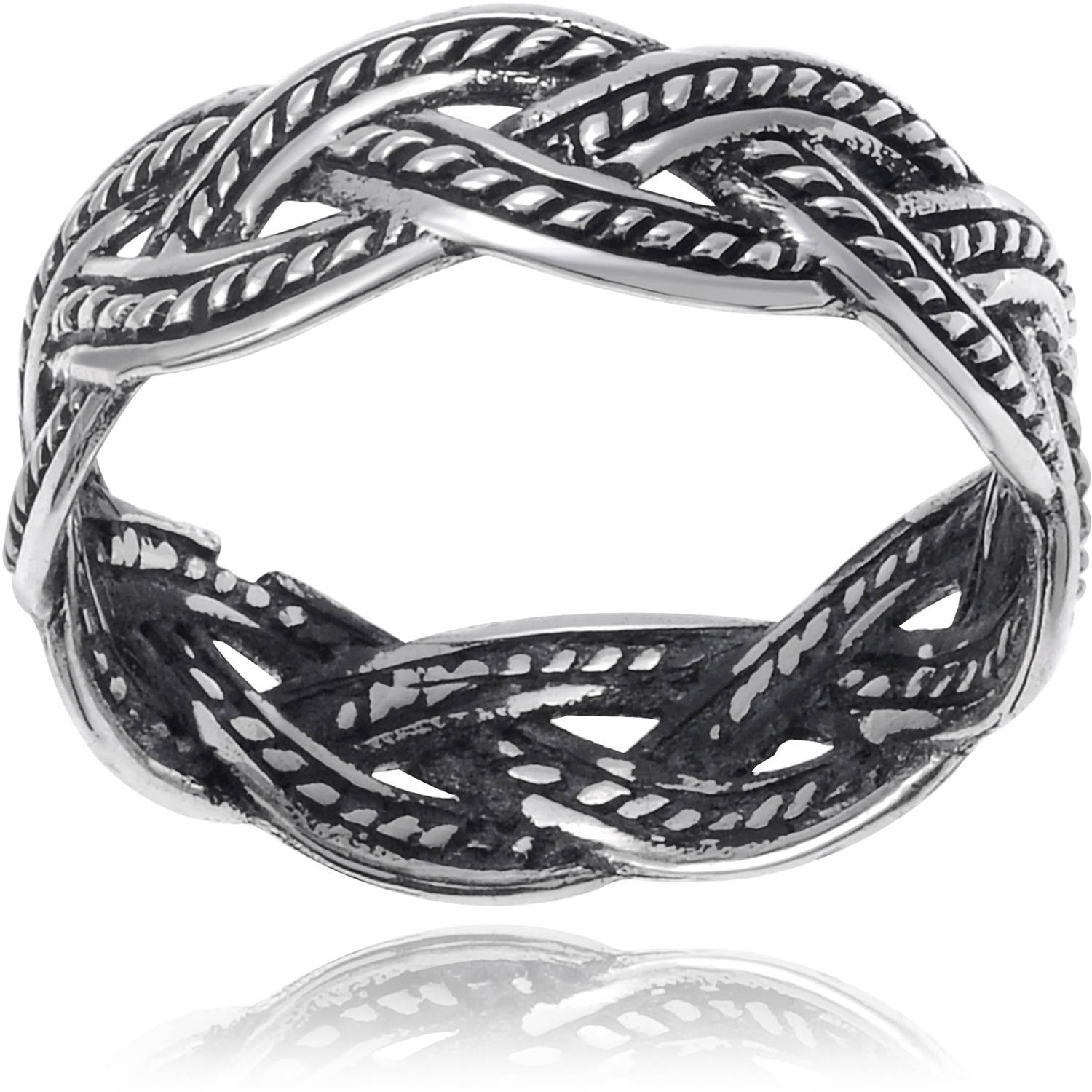 Brinley Co. Women's Sterling Silver Braided Band Fashion Ring