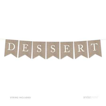 Dessert Burlap Pennant Party Banner](Burlap Birthday Banner)