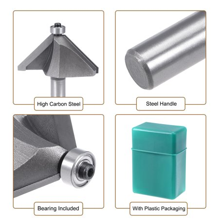 """Chamfer Router Bit 1/2 Shank 1-1/2"""" Dia 45 Degree High Carbon Steel with Bearing - image 1 de 5"""