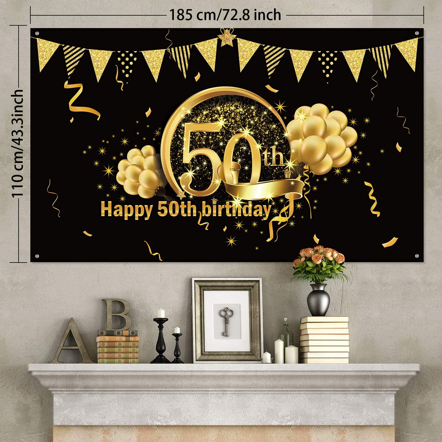 50th Birthday Party Decorative Door Cover Photo Booth Backdrop Background Banner for 50 Birthday Party Favor and Supplies Large Black /& Gold Happy 50th Birthday Door Banner Sign