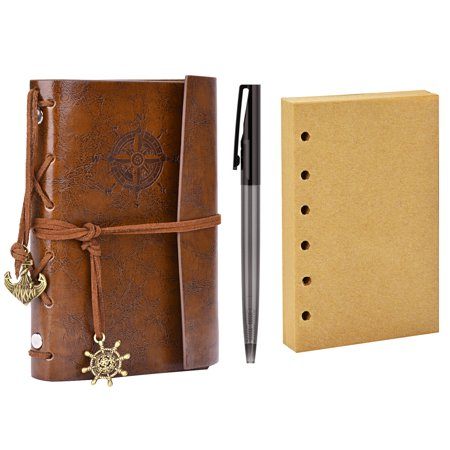 Journal Notebook, Coxeer Leather Writing Sketchbook Vintage Daily Notepad School Supplies Writing Notebook with Pen & Blank Interleaves for -