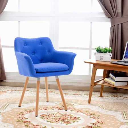 Windaze Living Room Chair, Mid Century Modern Retro Leisure Fabric Accent  Dining Chair with Buttons and Solid Bentwood Legs, Blue