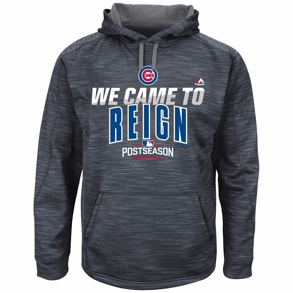 Chicago Cubs MLB Majestic Men's Gray 2016 World Series Authentic Therma Base Hoodie by MAJESTIC LSG