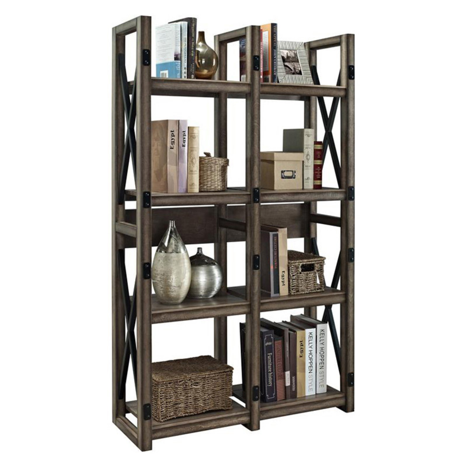 Wildwood Bookcase and Room Divider, Rustic Gray