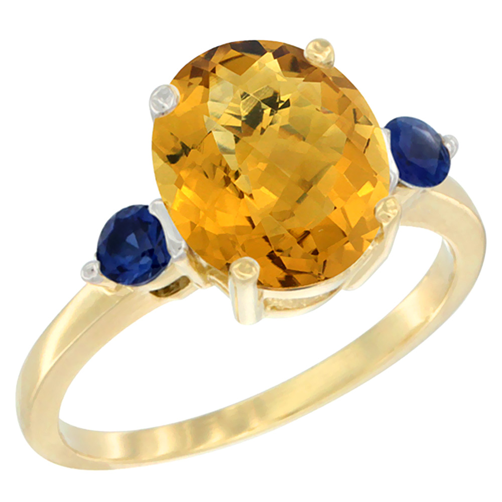 10K Yellow Gold Natural Whisky Quartz Ring Oval 10x8mm Blue Sapphire Accent, sizes 5 - 10