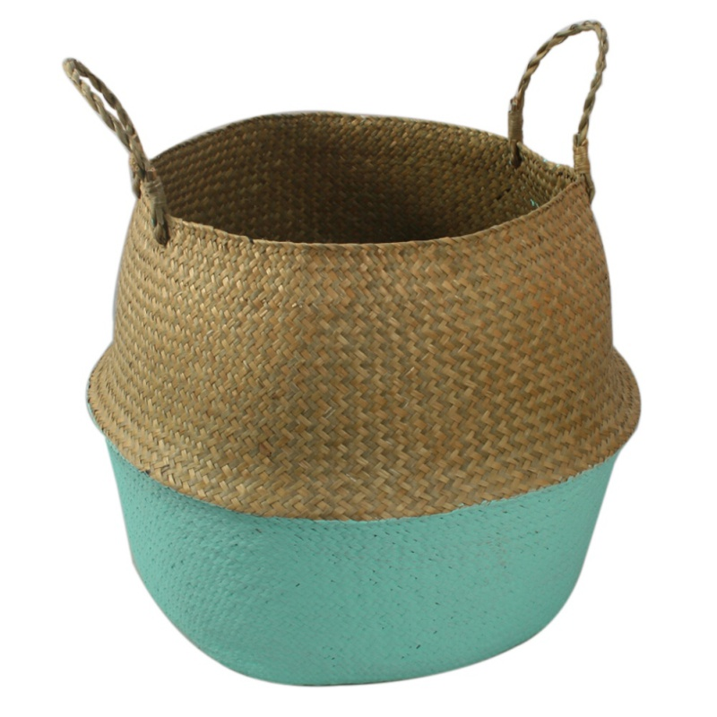 Tinymills Seagrass Wickerwork Basket Rattan Foldable Hanging Flower Pot Planter Woven Dirty Laundry Basket Storage Basket Home Storage Decor Basket