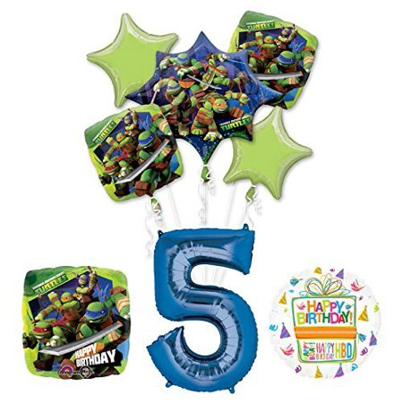 Ninja Turtle Birthday Party Supplies (Teenage Mutant Ninja Turtles 5th Birthday Party Supplies and TMNT Balloon Bouquet Decorations )