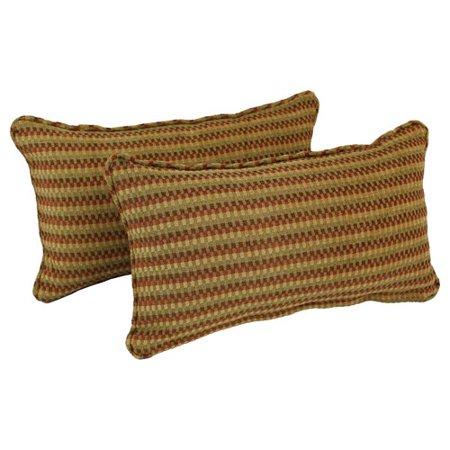 Blazing Needles Corded Autumn Gingham Lumbar Pillow (Set of 2) Autumn Blaze Pear