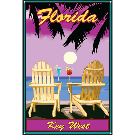 Palm Pre Metal (Key West Florida Adirondack Chairs Palms Punch Metal Art Print by Joanne Kollman (12