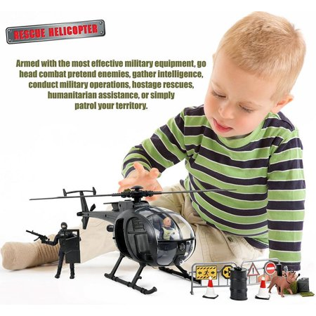 Helicopter Rescue Set (Click N' Play Military SWAT Elite Unit Rescue Helicopter 26 Piece Play Set With)