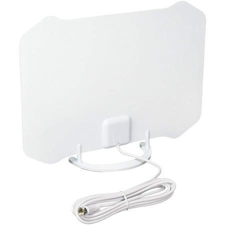 ANTOP Indoor Paper Thin HDTV Antenna – 35-Mile Range – Omni-Directional Reception Pattern – 4K Ultra Hi-Def ready – Piano White