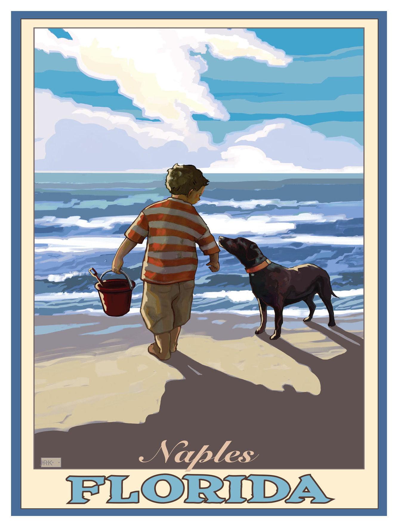 Naples Florida Boy Dog East Giclee Art Print Poster by ...