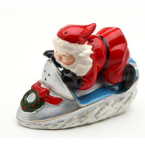 Cosmos Gifts Santa with Snowmobile Salt and Pepper Set