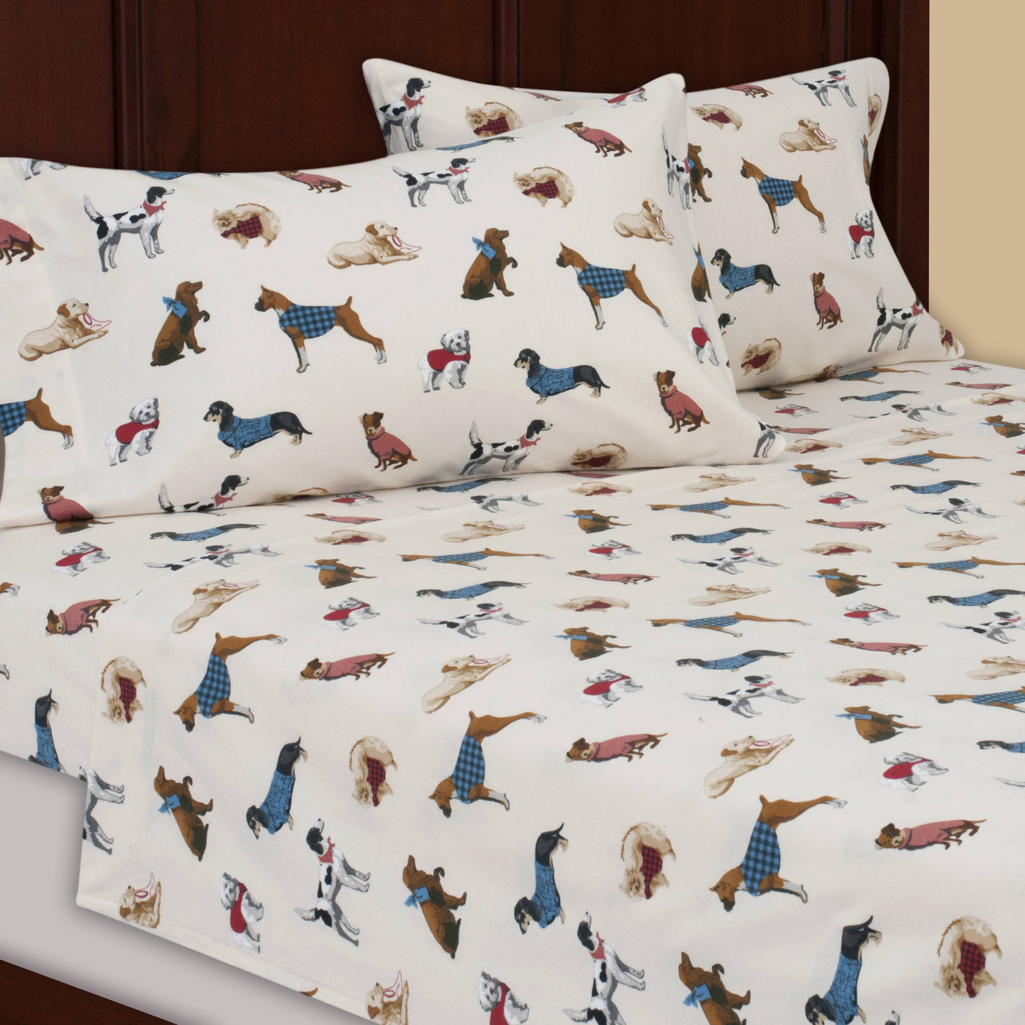 Mainstays Flannel Sheet Set, Dog Print