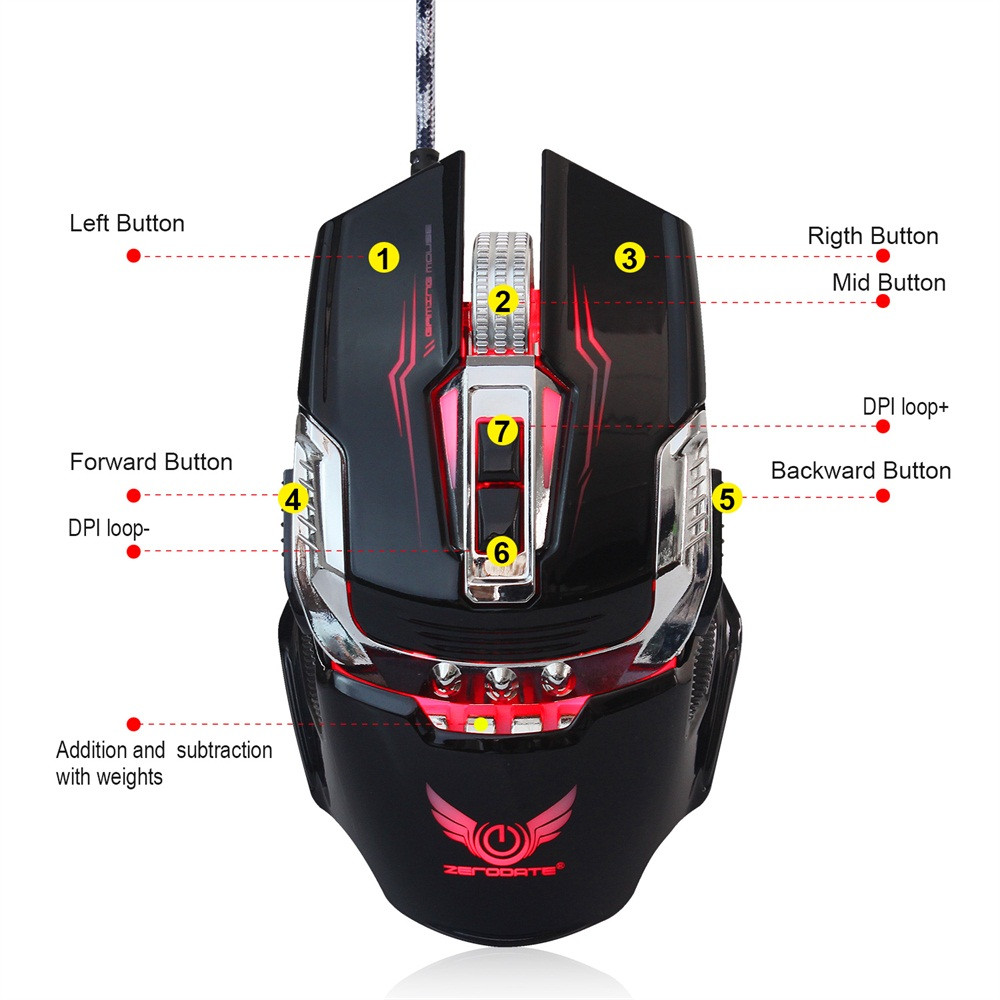 DZT1968 ZERODATE X900 Wired Gaming Mouse With 4 - level adjustable DPI LED Light