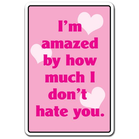 IM AMAZED BY HOW MUCH I DONT HATE YOU Aluminum Sign family love | Indoor/Outdoor | 10