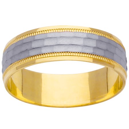 (14K Two Tone Gold Pattern Modern Men's Wedding Band (6mm))