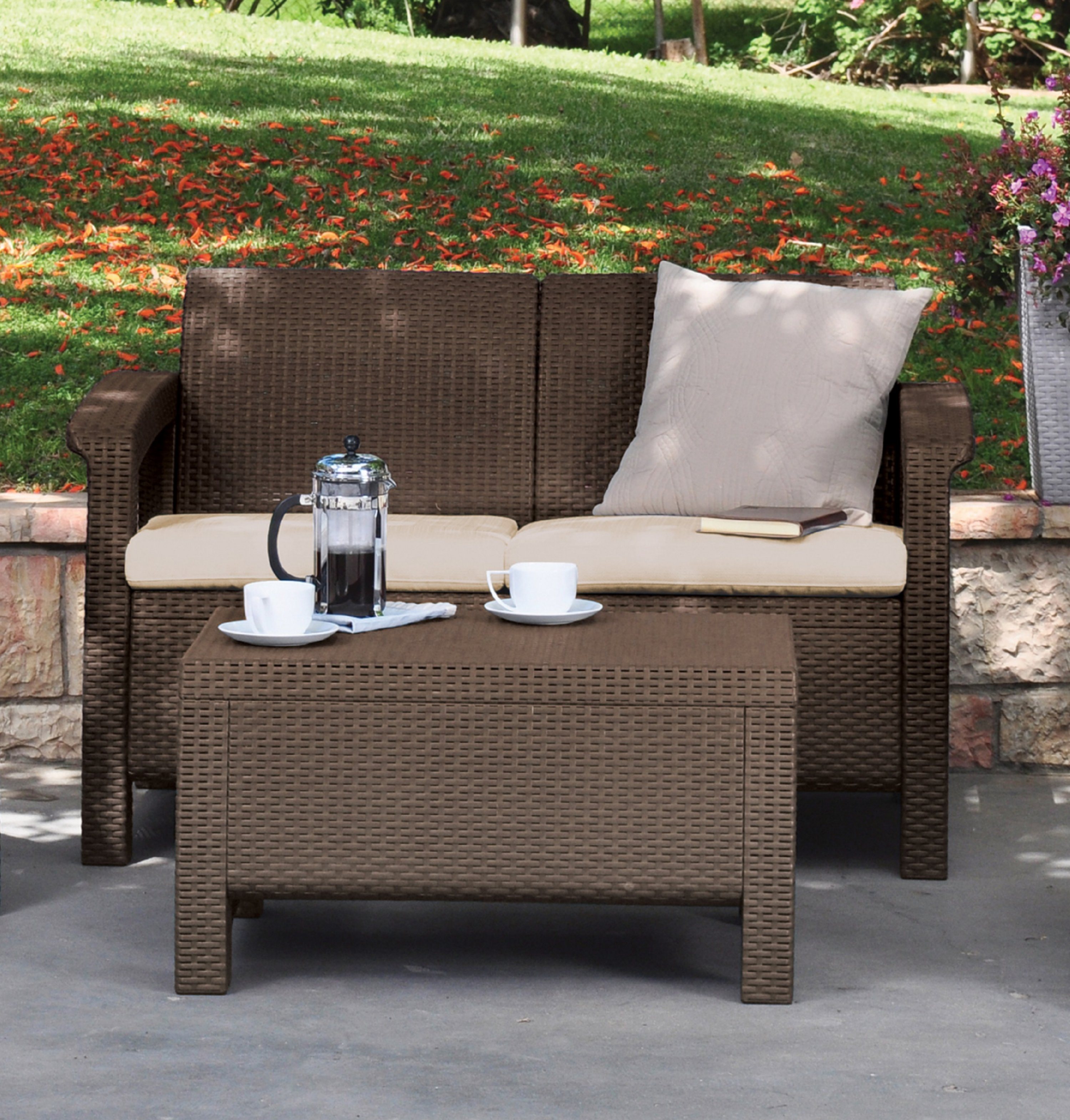 Keter Corfu Resin Love Seat with Cushions All Weather Plastic