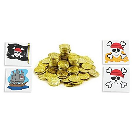 Plastic Gold Coins 288ct With 24 Pirate Themed tatoos, Includes 288 gold-colored plastic coins By - Theme Pirate