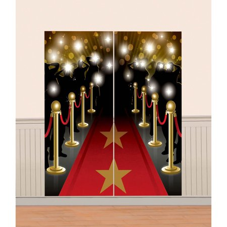 Amscan Movie Night Hollywood Themed Party Down the Red Carpet Scene Decorating Kit, Multicolor, 65