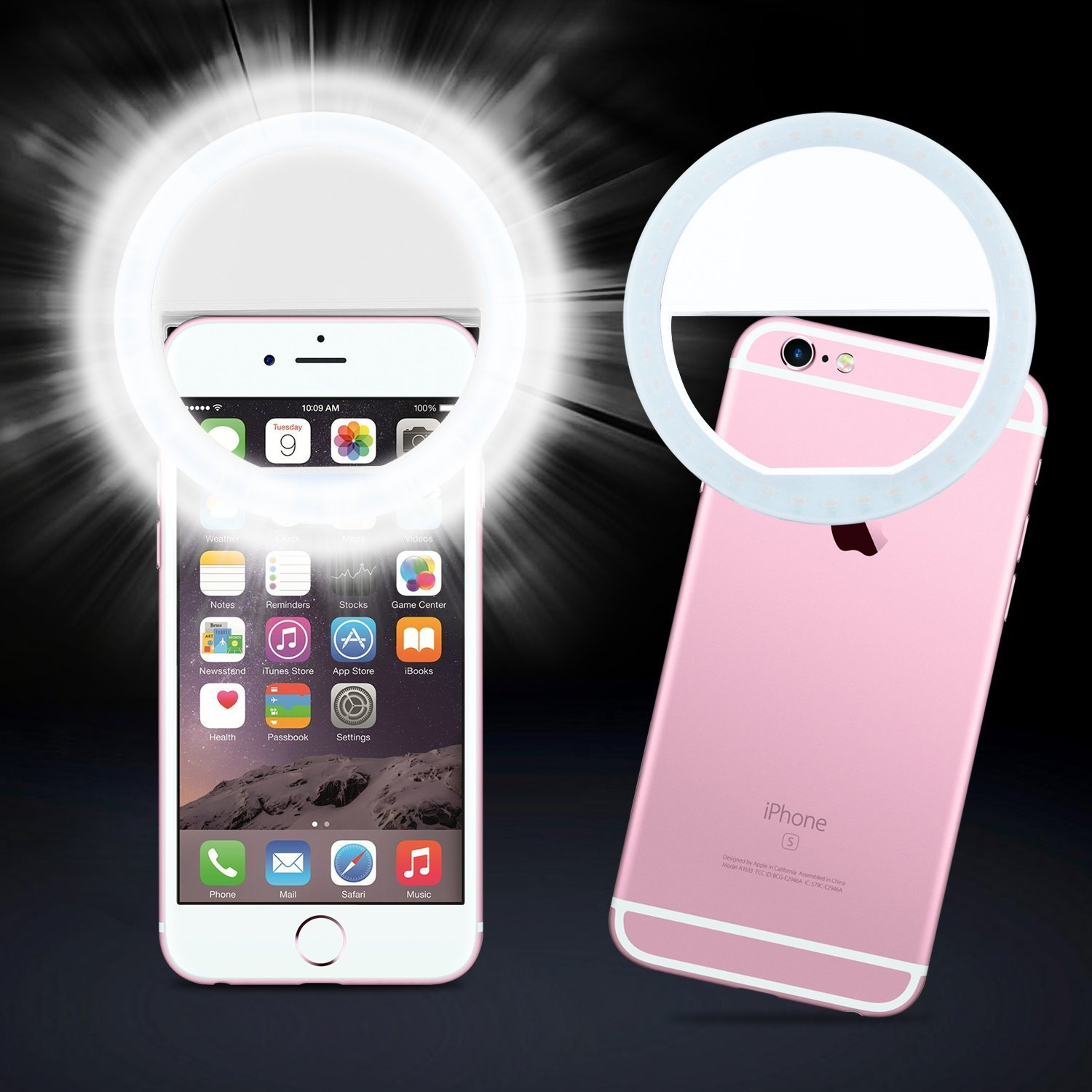 EEEKit Selfie Light Ring 36 LED - Fits All Phones iPhone XS Max XR X 8 7 6 6S (Plus), Samsung Galaxy S10 S9 S8 S7 S6 Edge(Plus) Note 9 8, ...