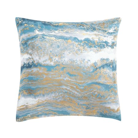 Mainstays Foil Mineral Marble Decorative Throw Pillow, 18 x 18, Blue - Decorative Tins